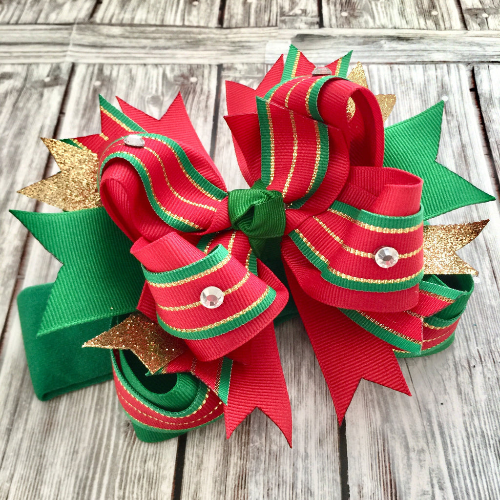 Christmas Hair Bow Red Green Gold,Stacked Christmas Bow,Baby Headband