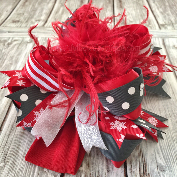 Red and Grey Christmas Hair Bows,Red and Gray Baby Headband