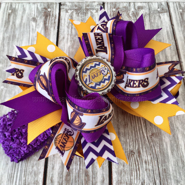 Lakers Hair Bow,Basketball Baby Headband Lakers,Lakers Hairbow,Lakers Baby Headband,NBA Bows,Lakers Baby Girl Headbands and Bows
