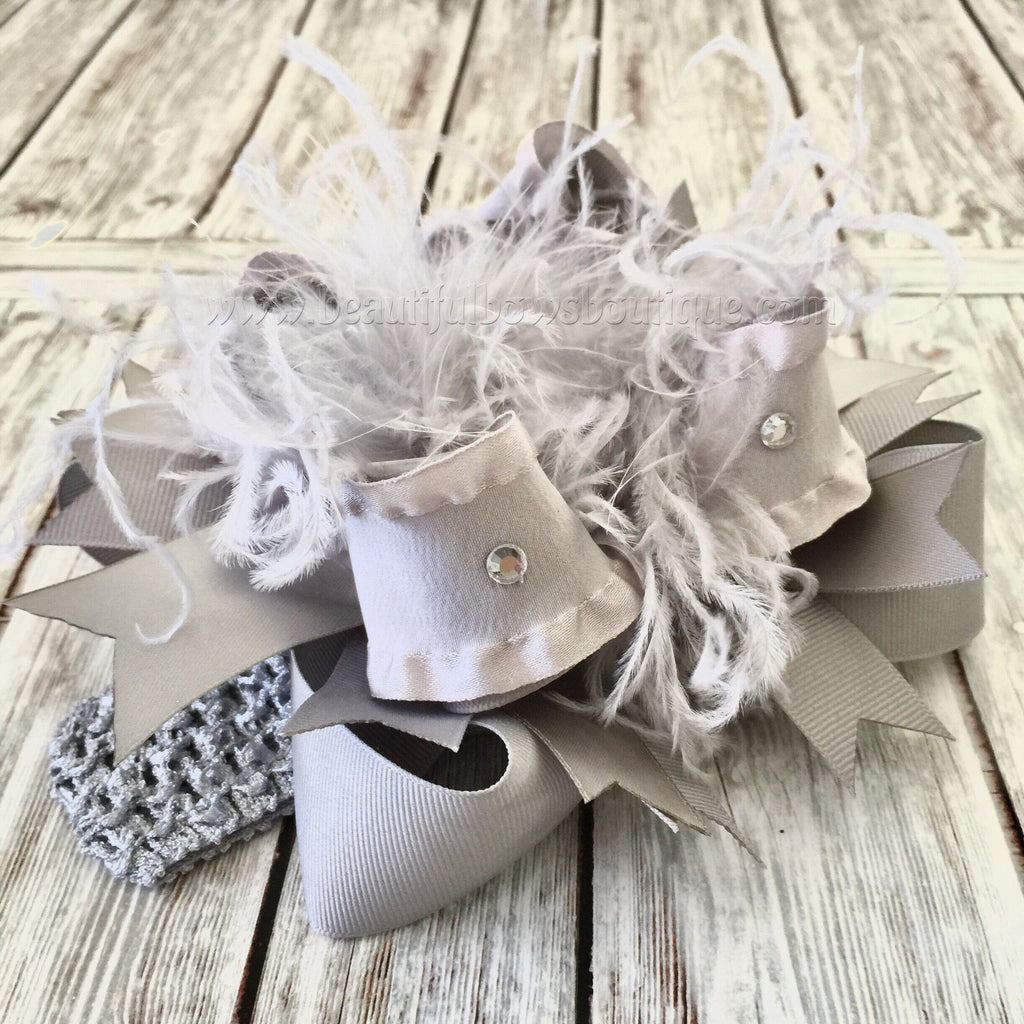 Solid Gray Over the Top Hair Bow Baby Headband,Silver Over the Top Bows,Big Grey Hair Bow,Boutique Hair Bow Grey Silver,Stacked Bows Silver