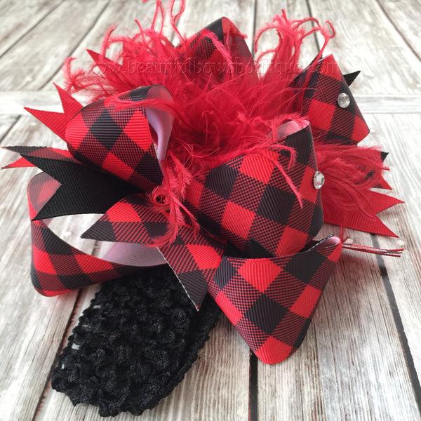 Buffalo Plaid Baby Headband, Buffalo Plaid Bow,Buffalo Plaid Hairbow