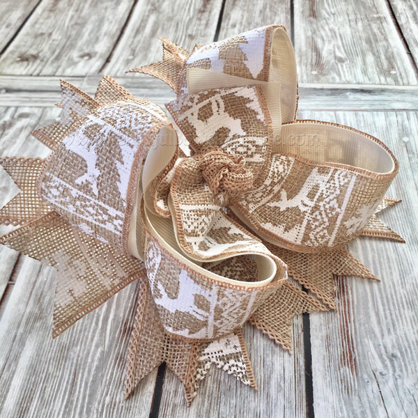 Burlap Christmas Hair Bow,Reindeer Burlap Hair Bow