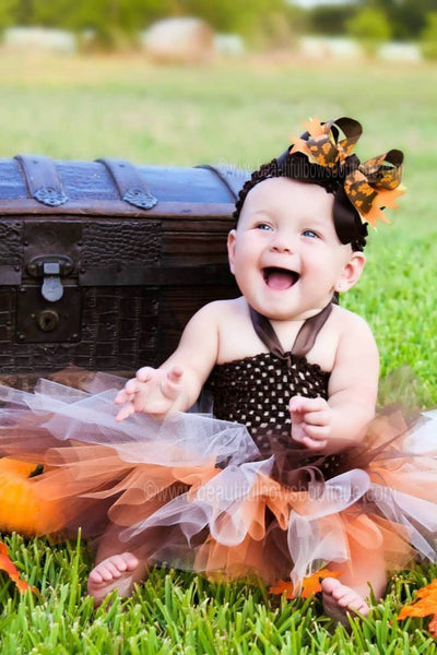 Fall Baby Tutu Dress Orange Brown Pumpkin