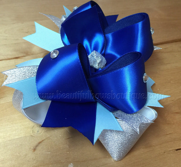 Buy Hanukah Over the Top Bows,Royal Blue and Silver Baby Headband,Chanukah Baby Headbands,Hanukah Headbands,Chanukah Girls Hair Bows,Blue Silver Online