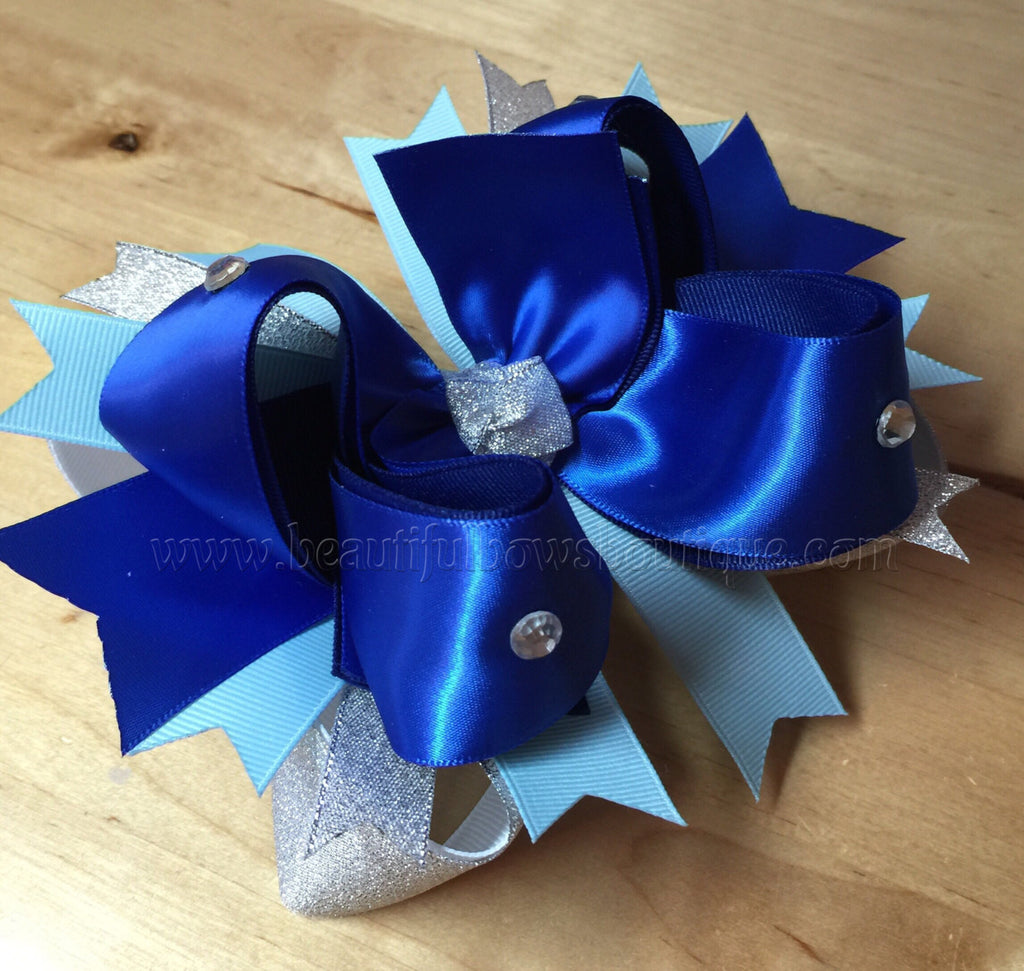 Hanukkah Over the Top Bow Royal Blue and Silver
