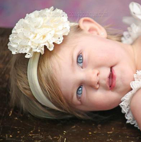 Ivory Lacie Rose Flower Clip or Headband