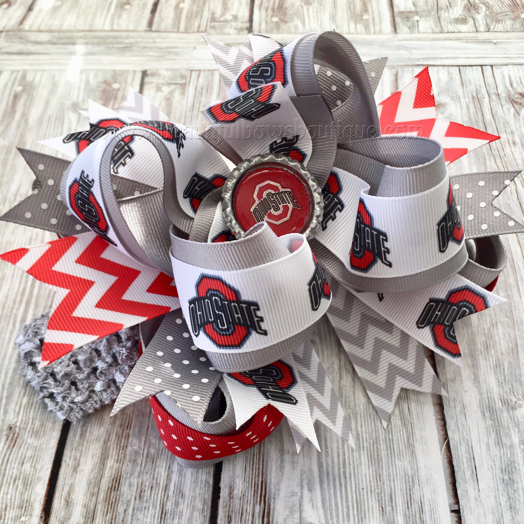 Ohio State Baby Headband Buckeyes Baby Girl Hair Bow Infant OSU