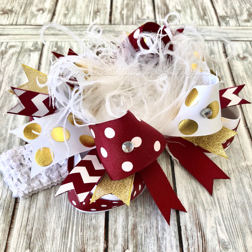 White Gold and Maroon Over the top Bow Infant Toddler Girl