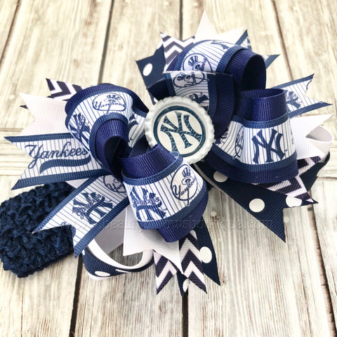 NY Yankees Stacked Hair Bow,Yankees Baby Headband,NY Yankees Hairbow
