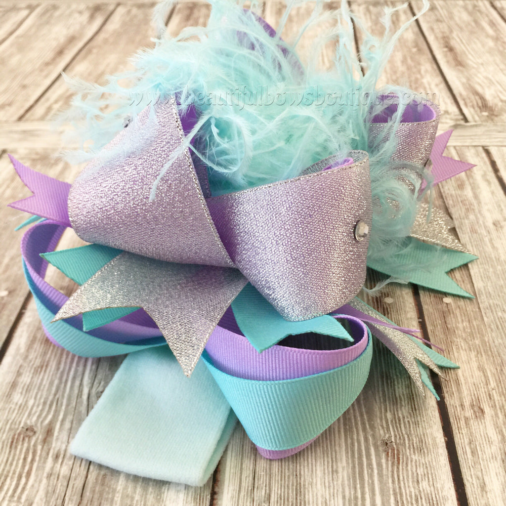 "Handmade 4/"" Lavender// Silver And Feather Stacked Boutique Hair Bows"