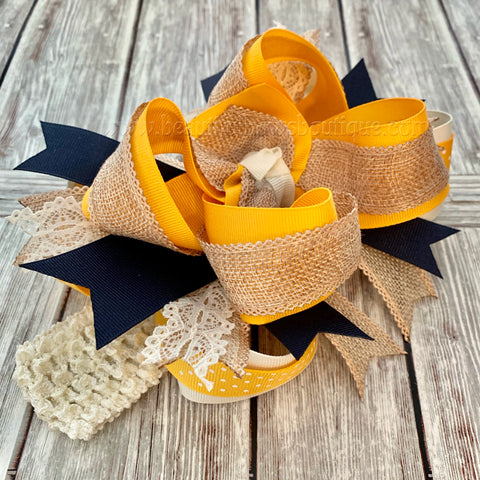Buy Over the Top Hair Bow Mustard Burlap Ivory Navy,Fall Over the Top Hairbow Online