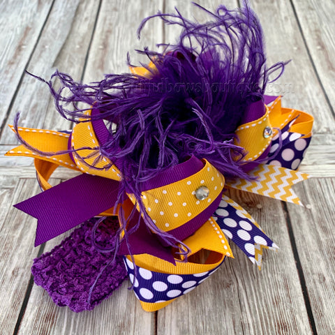 Yellow Gold and Purple Hair Bow, School Uniform Hair Bows