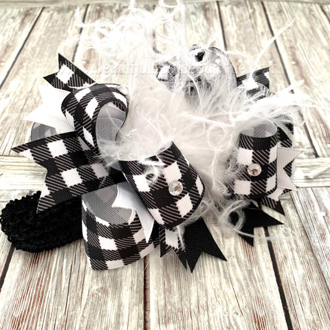 White Buffalo Plaid Baby Headband, White and Black Bow,Holiday Buffalo Plaid Bow
