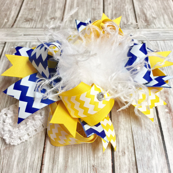 Yellow and Royal Blue Hair Bow, Blue and Gold Bow, Over the Top Bows