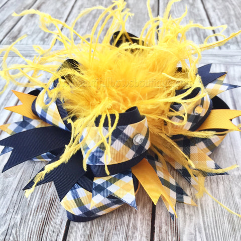 School Uniform Hair Bow Yellow Navy Blue Plaid, Statement Uniform Hair Bow