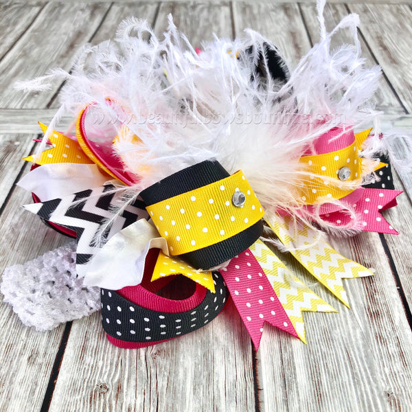 Bumble Bee Themed Birthday Bow,Pink Yellow and Black Hair Bows OTT