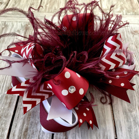 Maroon and White Hair Bow, School Bow, White and Maroon