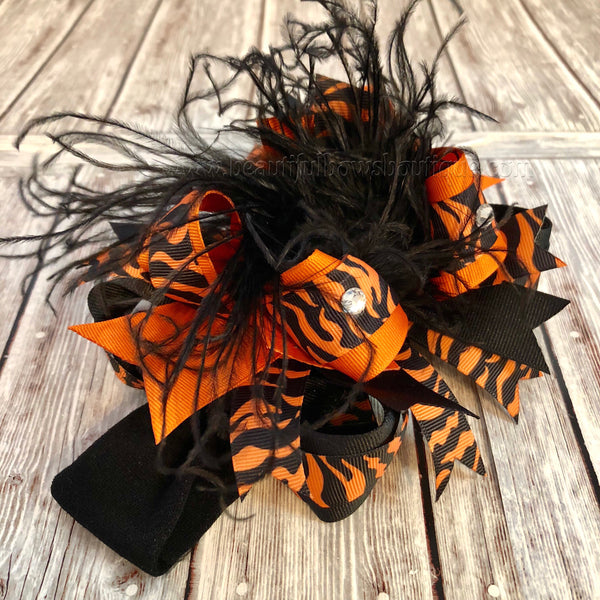 Orange Zebra Stacked Hair Bow, Zebra Halloween Baby Headband