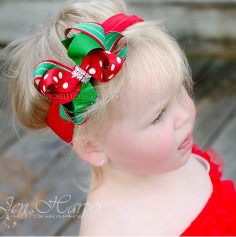 Dainty Red Green Christmas Twist Boutique Hair Bow Newborn Headband
