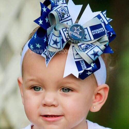 huge discount 3222a 43d22 Dallas Cowboys Baby Headband Girls Hair Bow Clip NFL