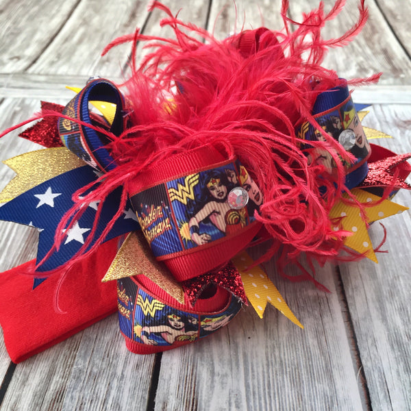 Wonder Woman Over the Top Hair Bow,Super Hero Stacked Hair Bow