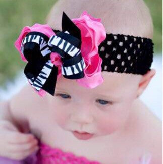 Dainty Hot Pink Zebra Ruffled Hair Bow Clip or Baby Girl Headband