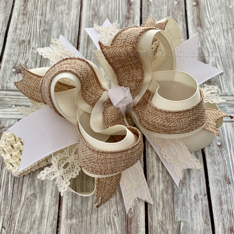 Buy Over the Top Hair Bow Burlap Ivory White,Neutrals Over the Top Hairbow, OTT Headband Online
