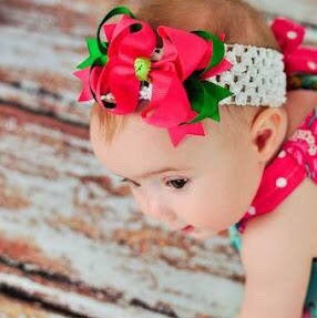 Buy Dainty Emerald and Shocking Pink Layered Girls Hair Bow Clip or Headband Set Online