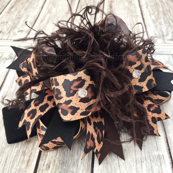 Leopard Over the Top Hair Bow, Cheetah Over the Top Hairbow, OTT Headband