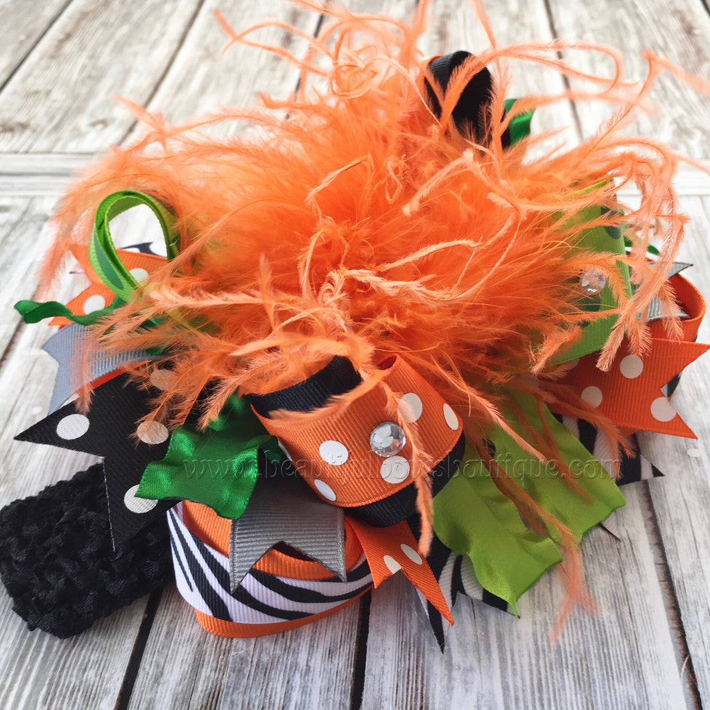 Buy Big Fall Hair Bow Pumpkin Theme Fall Baby Headband Over the Top Online