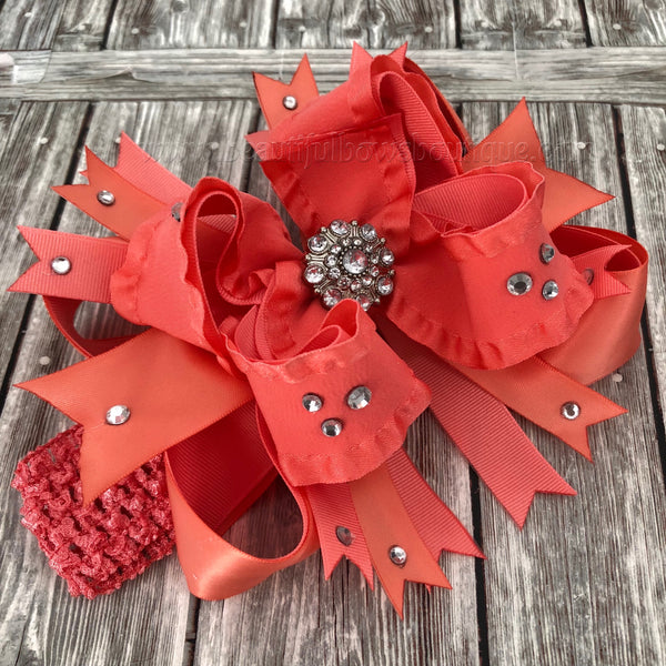 Buy Coral Over the Top Hair Bow, 6 inch Coral Hairbow,Large Coral Baby Headband Online