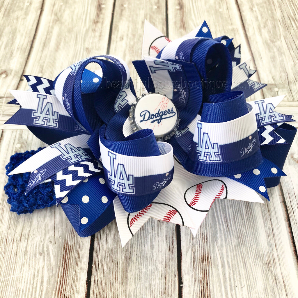 "Girls Hair Bow 4/"" Wide Dodgers Baseball White//Blue Grosgrain French Barrette"