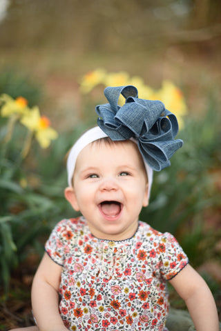Big Denim Hair Bow Baby Headband Headwrap Toddler Girls, Denim Baby Headband