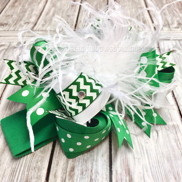 Green and White Over the Top Hair Bow,OTT Bows, Baby Headbands