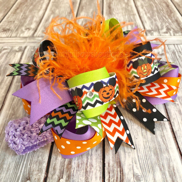 Minnie Mouse Halloween Hair Bow,Halloween Hair Bows Lime Orange Black Purple OTT