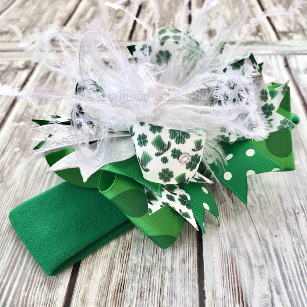 Newborn St. Patrick's Day Bow Headband,Mini OTT Bow Saint Patty's Day