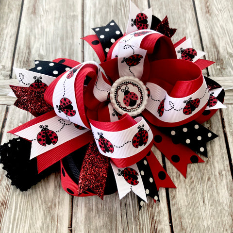 Buy Over the Top Hair Bow Ladybug,Ladybug Hair Bow, Ladybug Birthday Bow Headband Online