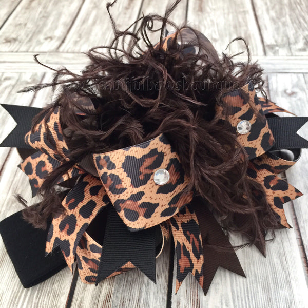 Buy Leopard Over the Top Hair Bow, Cheetah Over the Top Hairbow, OTT Headband Online