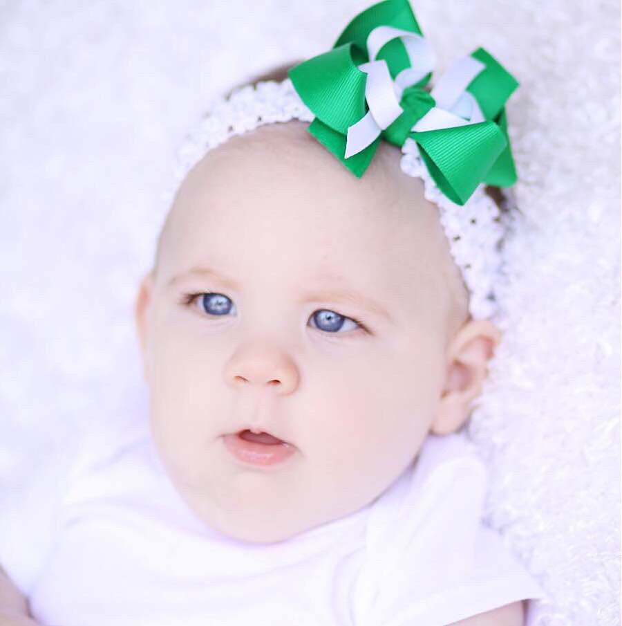 Small Green and White Hair Bow Clip or Baby Headband