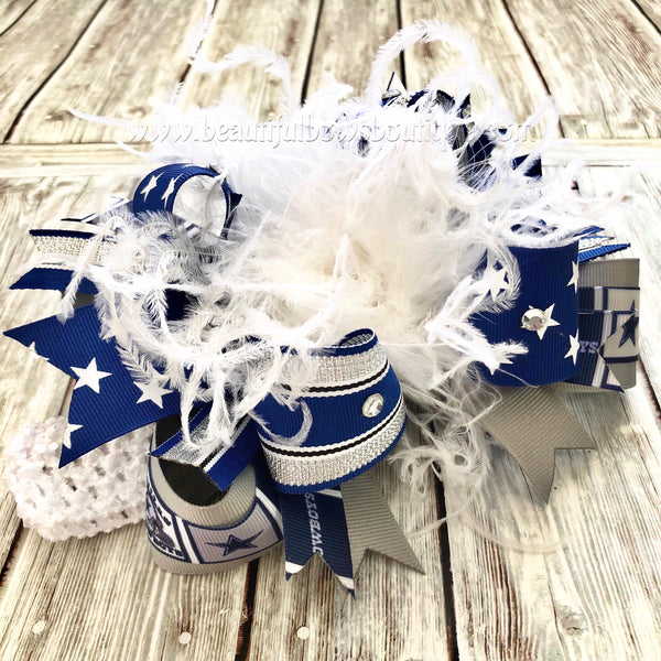 Over The Top Dallas Cowboys Hair Bow, Cowboys Baby Headband