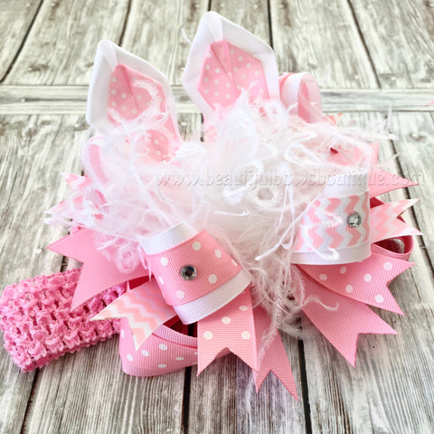 Easter Hair Bow, Bunny Ears Hair Bow, Easter Gift Baby Headband
