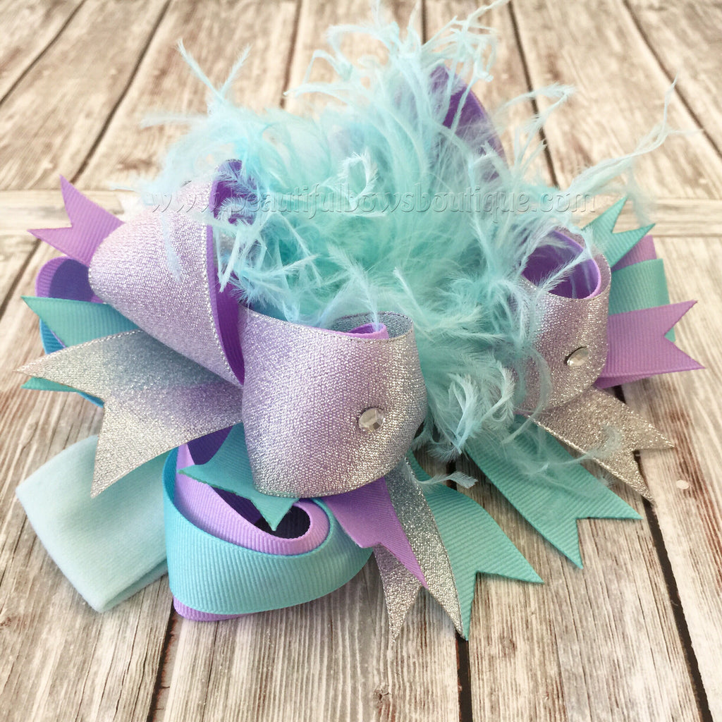 Buy Silver Lavender and Mint Over the Top Hair Bow, OTT Hair Bows Aqua Purple Online