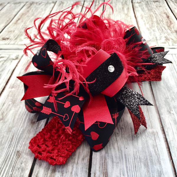 Red and Black Valentine's Day Hair Bow Over the Top,Valentine Hair Bows Red Black,Heart Arrow Valentine Hair Bow Headband for Girls and Baby
