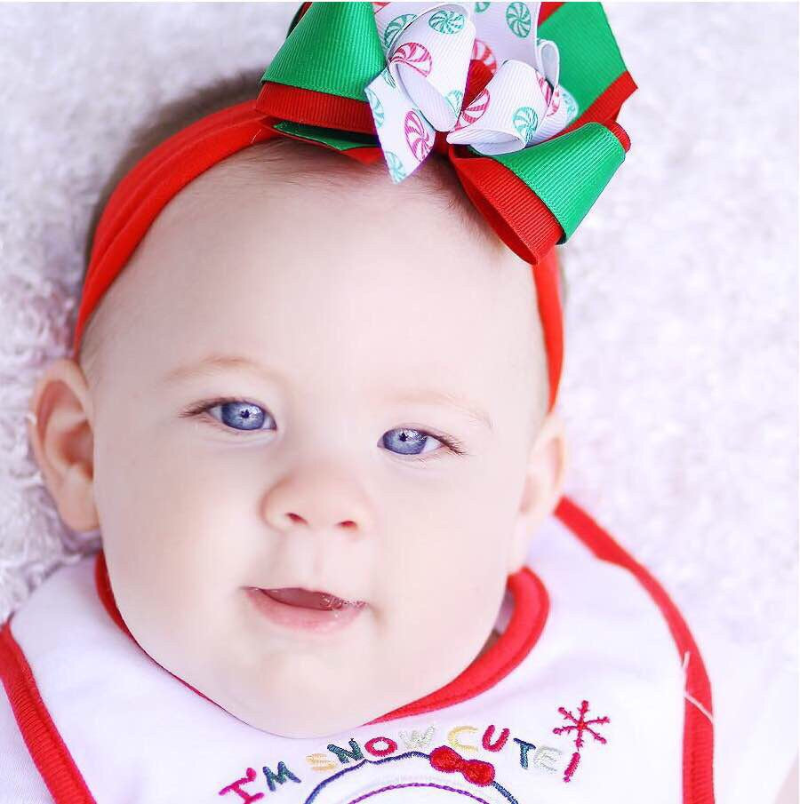 Newborn Christmas Headband Bow Red Green Peppermint
