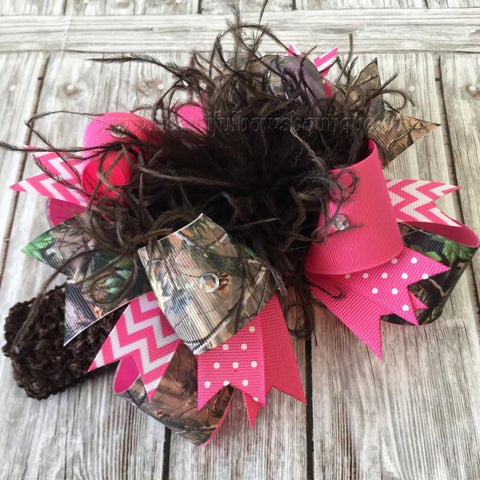 Buy Hot Pink Camo Hair Bow,Realtree Camo Headband,Camouflage Baby Headband Online