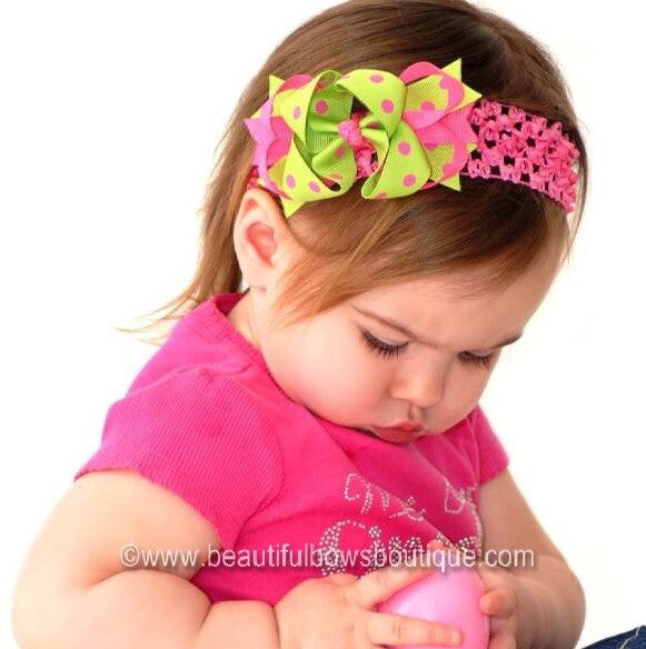 Dainty Lime & Hot Pink Polka Layered Girls Hair Bow Clip or Headband Set
