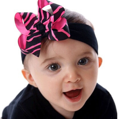 Buy Dainty Zebra Hot Pink Girls Hair Bow Clip or Headband Online