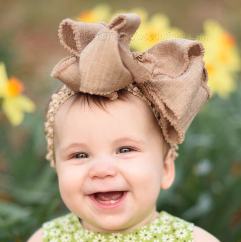 Buy Big Burlap Hair Bow Baby Headband Headwrap Toddler Girls Online