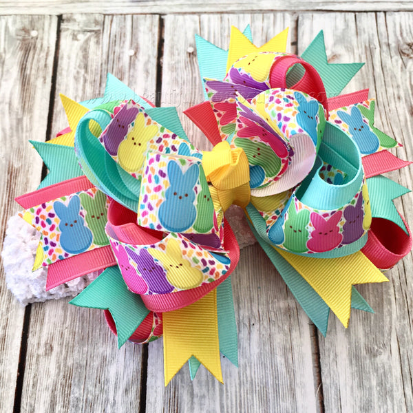 Buy Easter Bunny Hair Bow,Peeps Hair Bow, Easter Boutique Hairbows,Pastel Bunny Over the Top Bow, OTT Hairbow, Easter OTT,Stacked Bows Easter Online