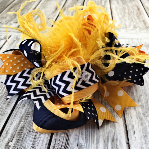 Buy Navy and Yellow Gold Hair Bow, School Uniform Bow, Stacked Bows Online
